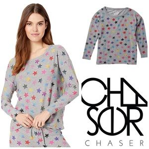Chaser Rainbow Star Crewneck Knit Pullover XS
